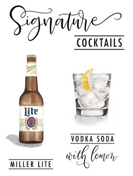 Watercolor signature cocktail sign 2019
