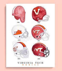 Evolution of Hokie Helmets