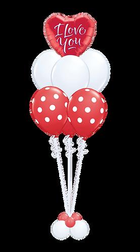 Ballongbukett - Valentines day - Stor - Rød/Hvit