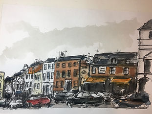 I'm an urban sketcher, using a lot of ink, less watercolour, and no straight lines, who tries to capture the vibrancy and variety of street scenes wherever I can.