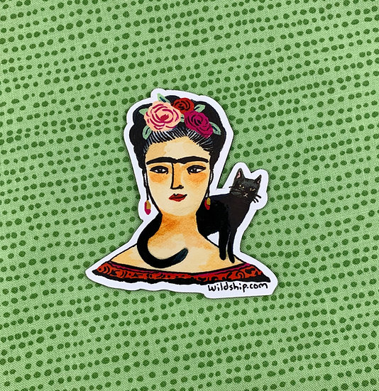 Frida And Black Cat Magnet By Windship Studio