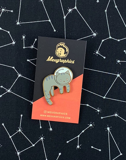 Gray Tabby Space Cat Enamel Pin By Meugraphics