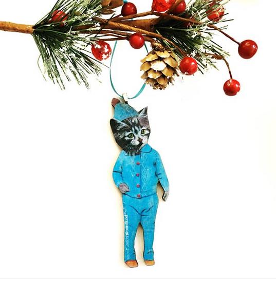 Pajama Cat Ornament By Pergamo Paper Goods