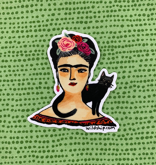 Frida And Black Cat Sticker By Windship Studio