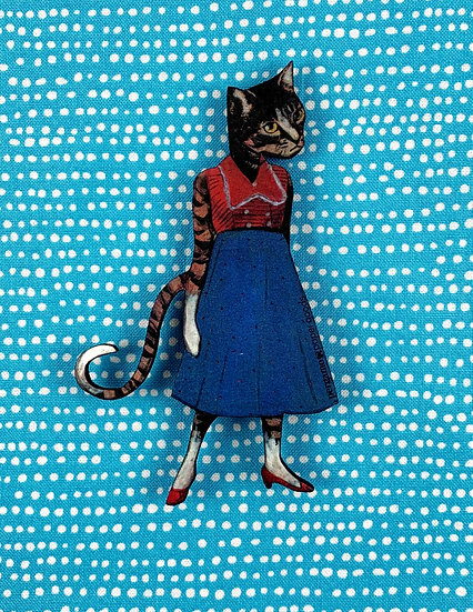 Cat Lady With Red Shoes Magnet By Pergamo Paper Goods
