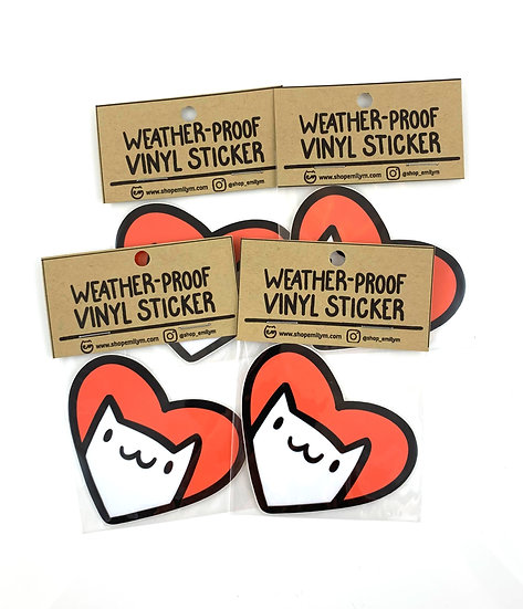 Cat Heart Vinyl Sticker By Emily M