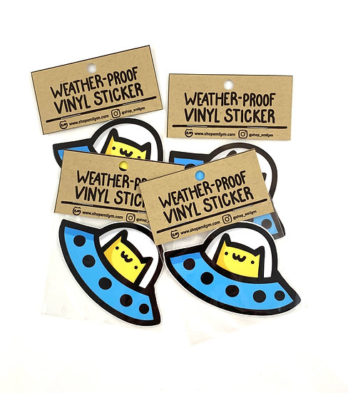 Space Cat Vinyl Sticker By Shop Emily M