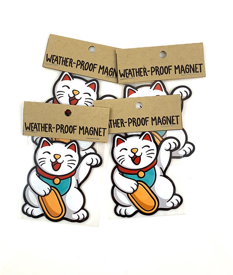 Lucky Cat Weatherproof Vinyl Magnet By Emily M