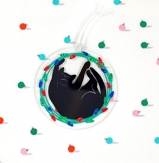 Black Cat Catmas Christmas Ornament  By Jaycat Designs