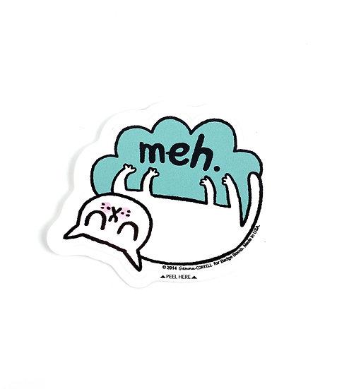 Meh Cat Sticker By Gemma Correll Badge Bomb