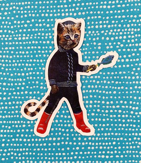 Fish Snack Kitten Sticker By Pergamo Paper Goods