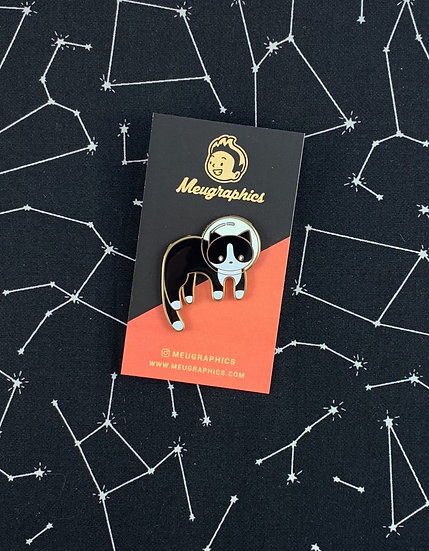Tuxedo Space Cat Enamel Pin By Meugraphics