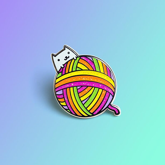 Yarn Ball Kitty Rainbow Candy Enamel Pin By Robot Dance Battle