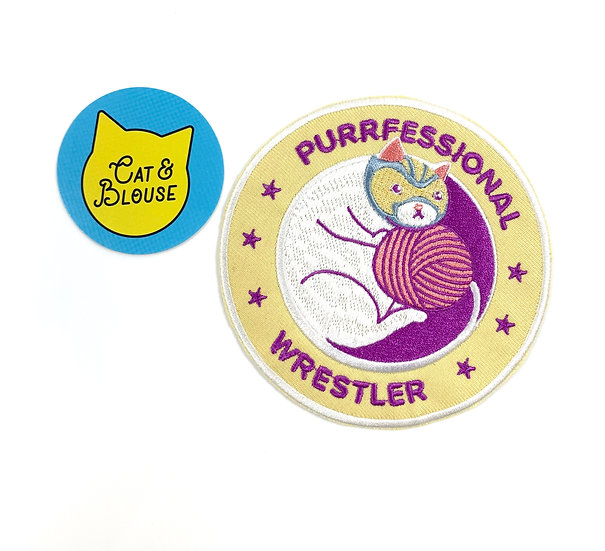 Purrfessional Wrestler Iron On Patch By Cat And Blouse Studios
