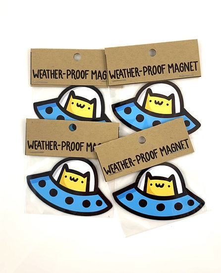 Space Cat Weatherproof Vinyl Magnet By Emily M