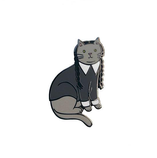 Wednesday Addams Cat Enamel Pin By Danielle V Designs