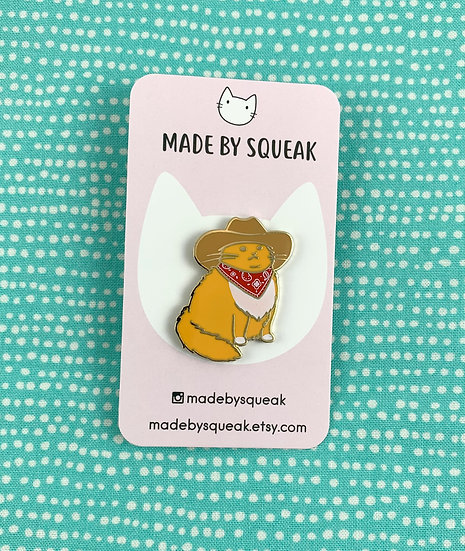 Cowboy Cat Enamel Pin By Made By Squeak