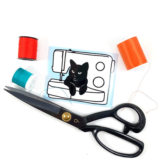 Black Cat and Sewing Machine Decal Sticker By Jaycat Designs