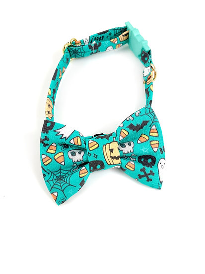 Festive Fun Blue Halloween Bow Tie And Collar Set By Whiskers Crafts