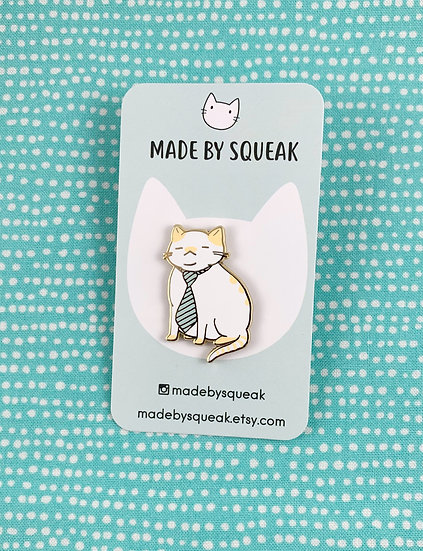 Tired Office Cat Enamel Pin By Made By Squeak