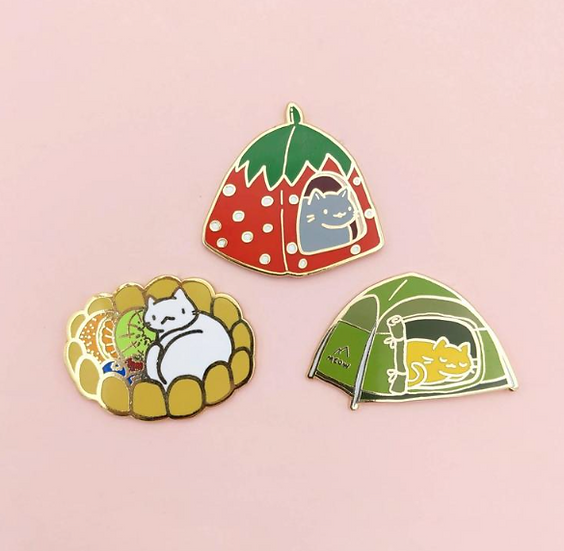 Cat Houses Enamel Pins By Made By Squeak