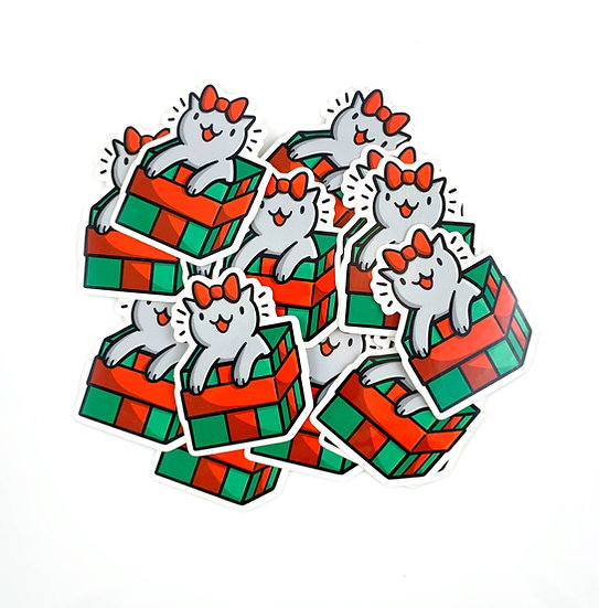 Mini Christmas Gift Cat Vinyl Sticker By Shop Emily M