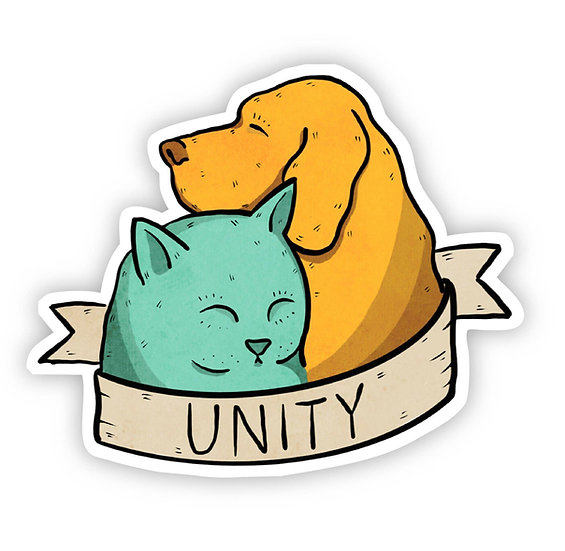 Unity Cat And Dog Sticker By Big Moods