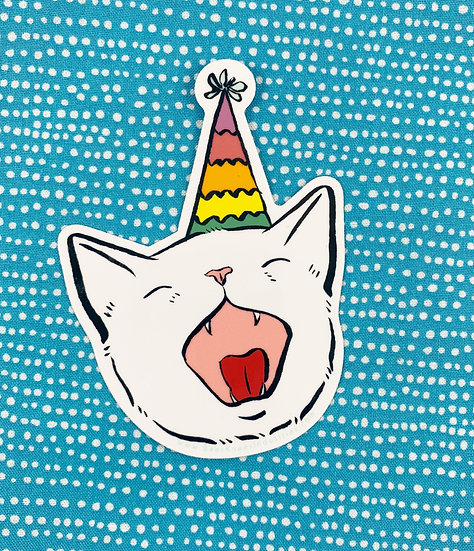 Birthday Cat Sticker By Bee's Knees