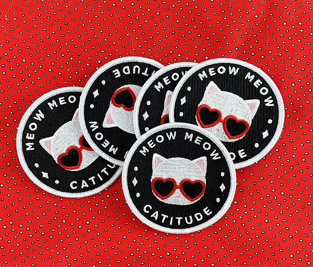 White Cat Catitude Iron-On Patch By Meow Amor Creative