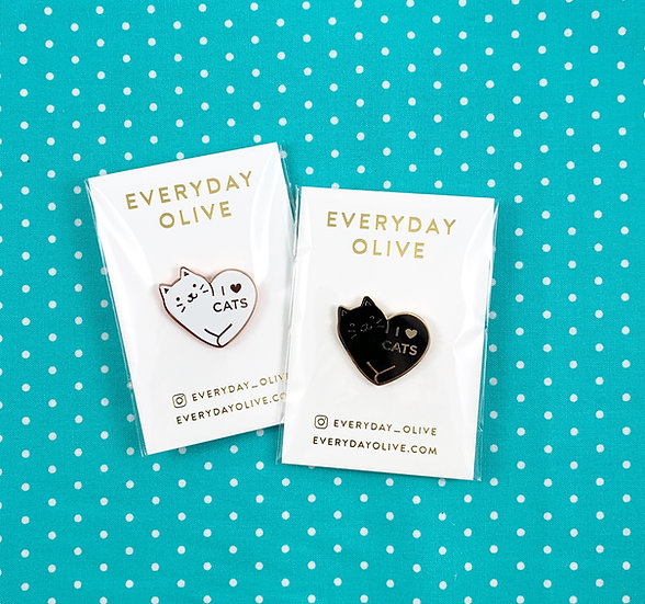 I Love Cats Enamel Pin By Everyday Olive