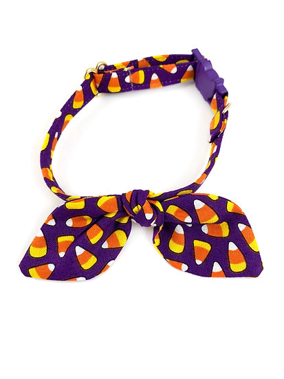 Candy Corn Purple Halloween Bunny Ears Bow And Collar Set By Whiskers Crafts
