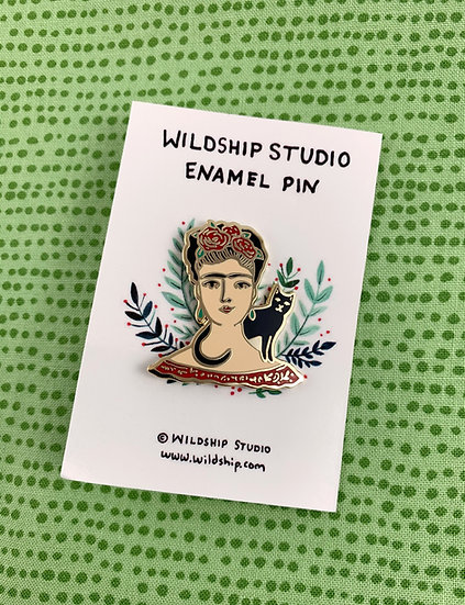 Frida And Black Cat Enamel Pin By Windship Studio