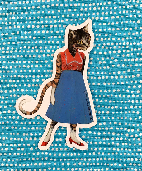 Cat Lady With Red Shoes Sticker By Pergamo Paper Goods
