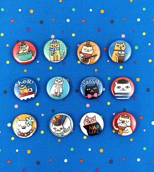 """1"""" Super Adorable Cat Buttons By Gemma Correll Badge Bomb"""
