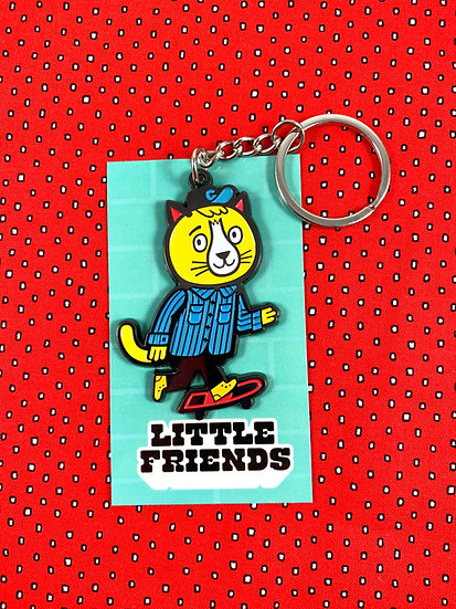 Tokyo Cats Skater Cat Keychain By Little Friends Of Printmaking