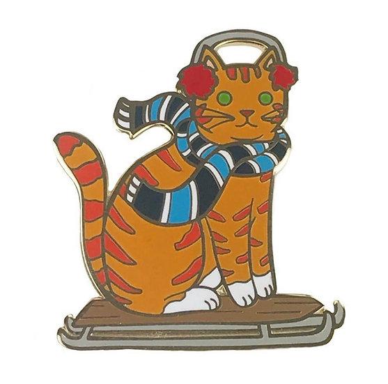 Sled Cat Enamel Pin By Danielle V Designs