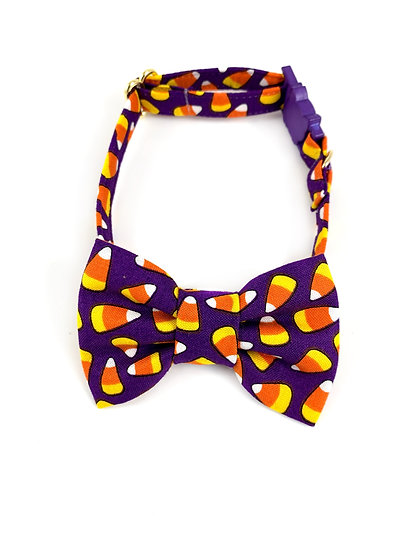 Candy Corn Purple Halloween Bow Tie And Collar Set By Whiskers Crafts