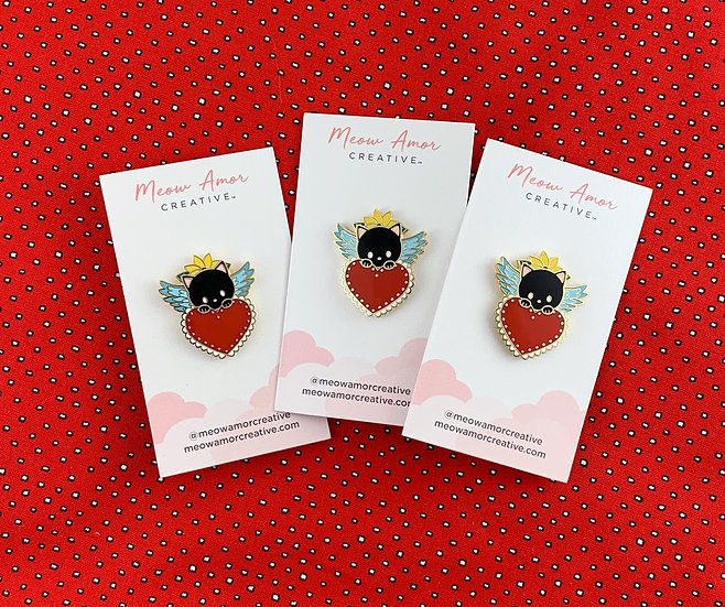 Black Cat Angel Sacred Heart Enamel Pin By Meow Amor Creative
