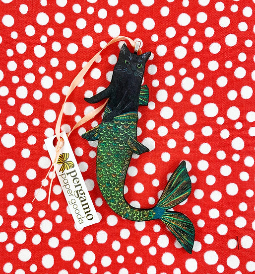 Mermaid Cat Ornament By Pergamo Paper Goods