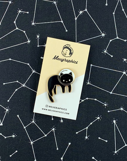 Black Space Cat Enamel Pin By Meugraphics
