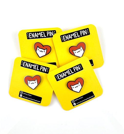 Cat Heart Hard Enamel Pin By Shop Emily M
