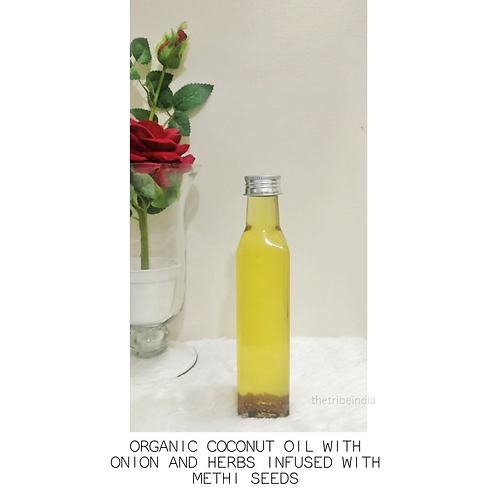 Organic Coconut Oil With Onion and Herbs Infused With Methi Seeds