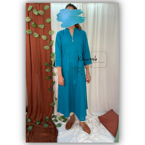 Solid Teal blue A-Line Kurta with semi collar and off white pencil Pant