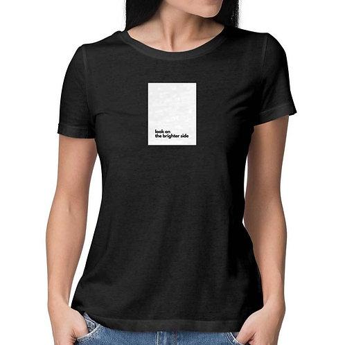 Brighter Side Black T-shirt for Women