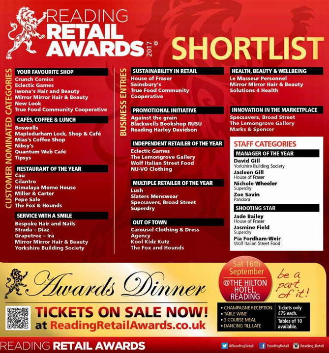 We have been shortlisted in the Reading Retail Awards 2017!