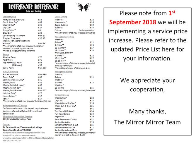 Service Price Increase
