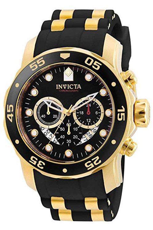 Invicta Men's Pro Diver Collection GMT 18k Gold-Plated Stainless Steel Watch wit