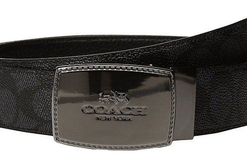 Coach Plaque Cut to Size Reversible Signature Crossgrain Leather Belt, Black/Bla