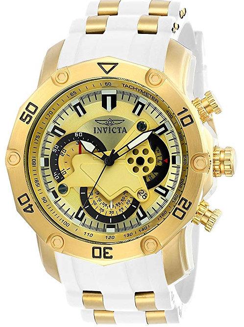 Invicta Men's Pro Diver Stainless Steel Quartz Watch with Silicone Strap, White,