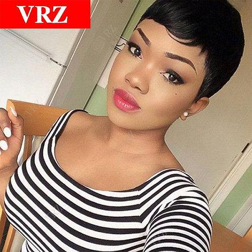 Short Pixie None Lace Human Hair Wigs With Bangs Virgin Brazilian Glueless